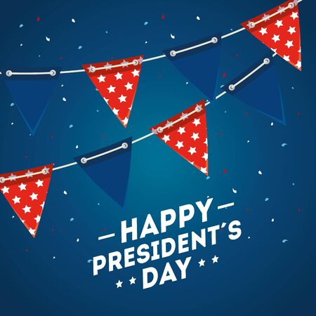 Banner pennant design, Usa happy presidents day united states america independence nation us country and national theme Vector illustration Çizim