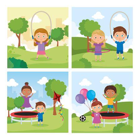 set scenes of little children in park landscape vector illustration design Illustration
