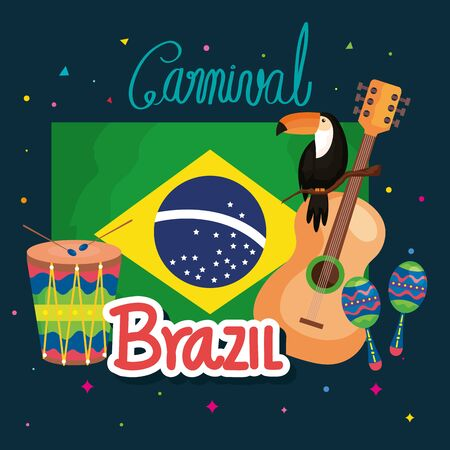 poster of carnival brazilian with flag and icons traditional vector illustration design