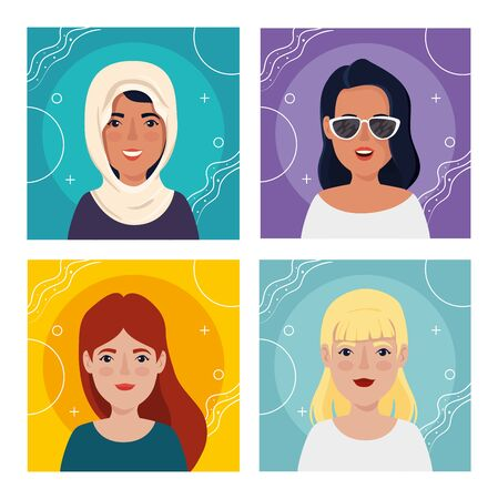 set images of women avatar character icon vector illustration design