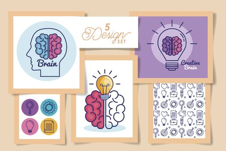 Five designs of human brains, Organ mind science intelligence idea medical head and education theme Vector illustration
