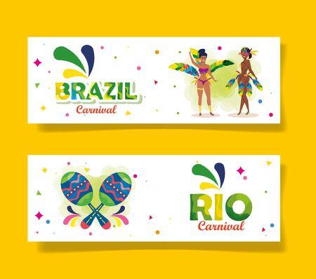 set poster of brazil carnival with decoration vector illustration design