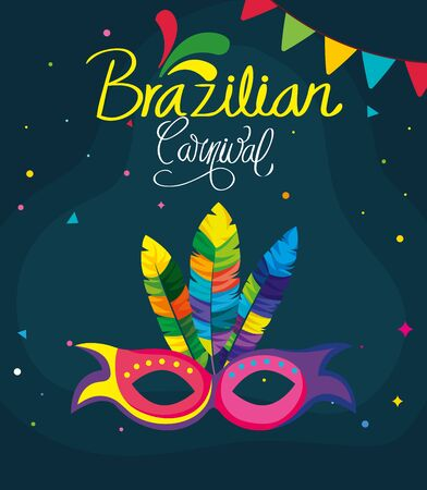 poster of brazilian carnival with mask and decoration vector illustration design