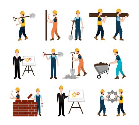 set workers construction and icons vector illustration design