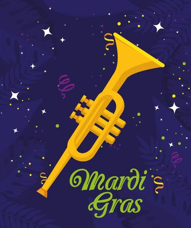 Mardi gras trumpet design, Party carnival decoration celebration festival holiday fun new orleans and traditional theme Vector illustration Ilustração