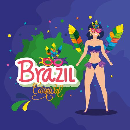 poster of carnival brazil with exotic dancer woman with decoration vector illustration design Иллюстрация