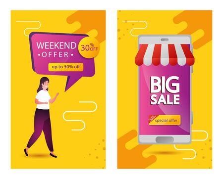 set of commercial labels weekend offer lettering vector illustration design