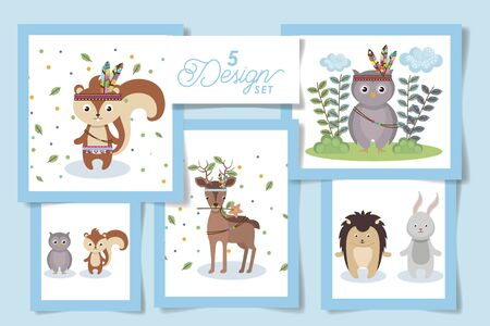 Five designs of cute indians animals cartoons, Zoo life nature character childhood and adorable theme Vector illustration