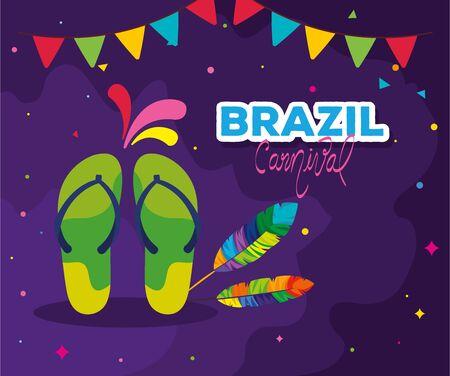 poster of brazil carnival with flip flops and decoration vector illustration design Иллюстрация