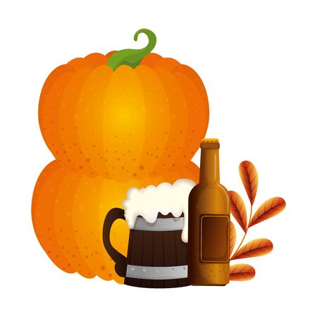 Oktoberfest beer and pumpkin design, Germany festival celebration europe landmark munich culture and party theme Vector illustration Çizim