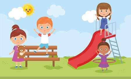 little group children playing in park landscape vector illustration design 矢量图像