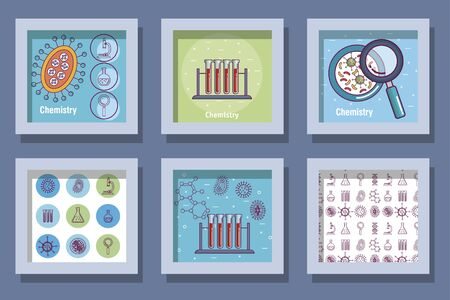 Frames set design, Chemistry science laboratory research technology biology equipment and test theme Vector illustration Stock Illustratie