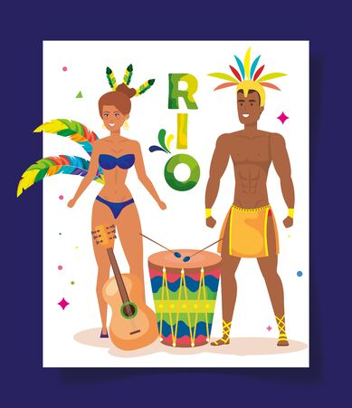 poster of carnival rio with exotic couple dance and decoration vector illustration design