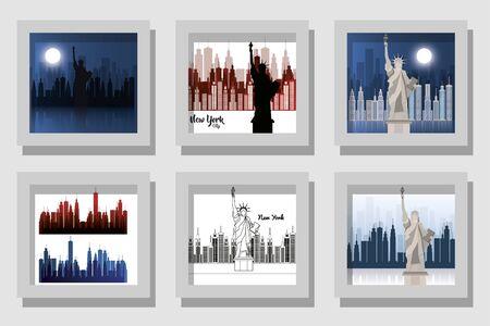 New york buildings set design, City architecture urban modern downtown contemporary metropolis exterior and construction theme Vector illustration