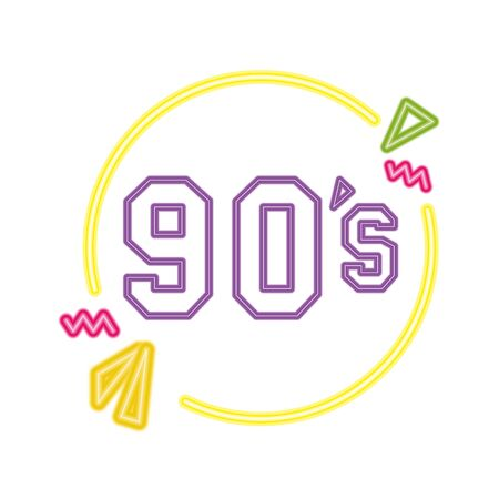 nineties sign retro style neon light vector illustration design