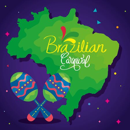 poster of brazilian carnival with map and maracas vector illustration design Иллюстрация