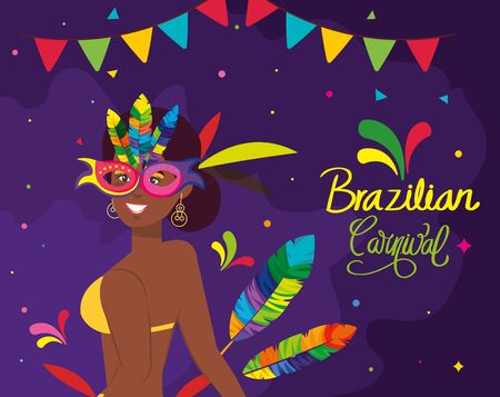 poster of brazilian carnival with exotic dancer and decoration vector illustration design
