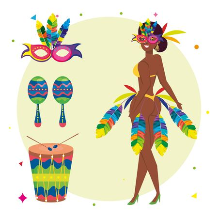 exotic dancer woman with icons traditional brazil vector illustration design