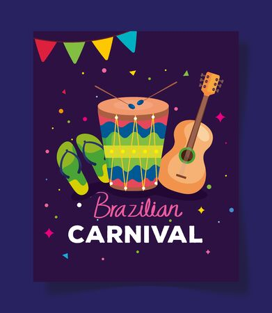 poster of brazilian carnival with drum and decoration vector illustration design