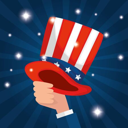 Hand holding hat design, Usa happy presidents day united states america independence nation us country and national theme Vector illustration Çizim