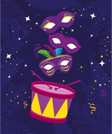 Mardi gras masks and drum design, Party carnival decoration celebration festival holiday fun new orleans and traditional theme Vector illustration Ilustração