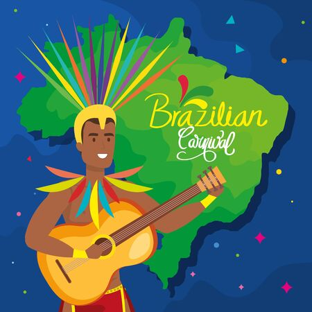 poster of brazilian carnival with dancer exotic male and decoration vector illustration design
