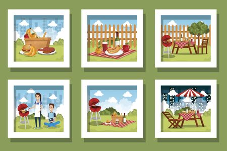 bundle of picnic scenes with people vector illustration design