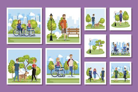 bundle of people disabled with park scenes vector illustration design