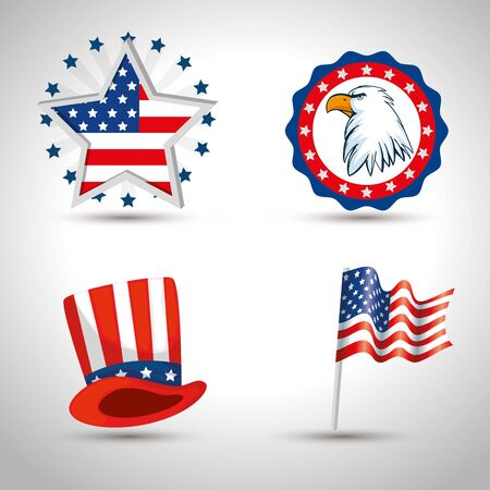 Eagle star hat and flag design, Usa happy presidents day united states america independence nation us country and national theme Vector illustration