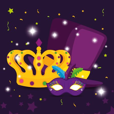Mardi gras mask and crown design, Party carnival decoration celebration festival holiday fun new orleans and traditional theme Vector illustration