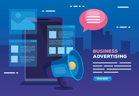 business advertising with smartphone and megaphone vector illustration design