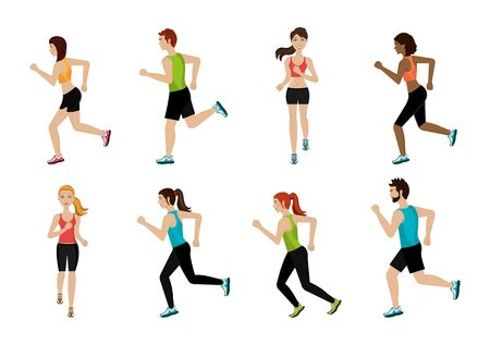 group of athletic people avatar characters vector illustration design