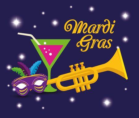 Mardi gras trumpet cocktail and mask design, Party carnival decoration celebration festival holiday fun new orleans and traditional theme Vector illustration