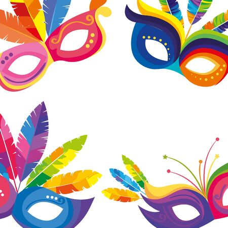 frame of masks carnival with feathers vector illustration design