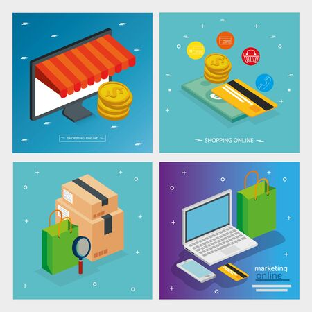 set poster online store with icons vector illustration design