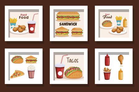 bundle of fast food delicious vector illustration design