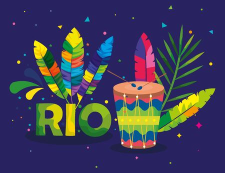 poster of carnival rio with drum and decoration vector illustration design