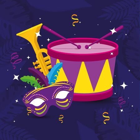 Mardi gras mask trumpet and drum design, Party carnival decoration celebration festival holiday fun new orleans and traditional theme Vector illustration