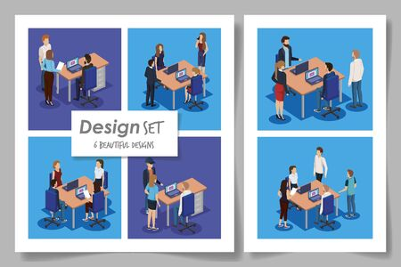six designs with business people in the workplace vector illustration design