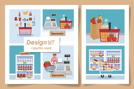 six designs of scenes supermarket with icons vector illustration design
