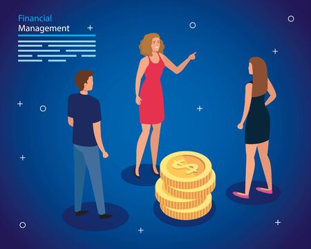 financial management with people and pile coins vector illustration design