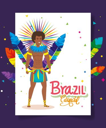 poster of brazil carnival with exotic dancer man and decoration vector illustration design
