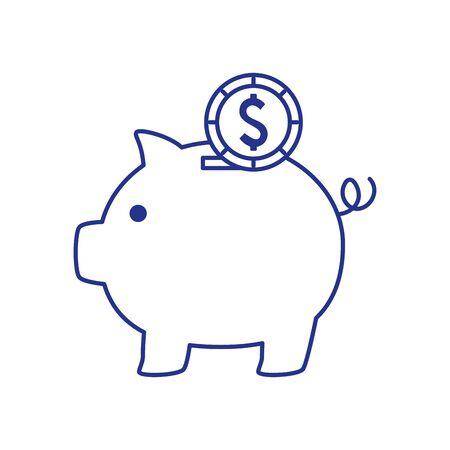 piggy bank saving with money isolated icon vector illustration design Stock Illustratie