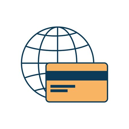 credit card with sphere isolated icon vector illustration design