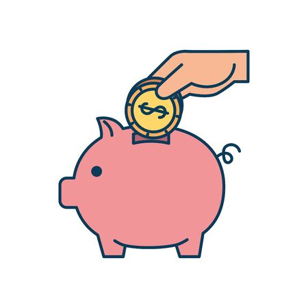 piggy bank saving with money isolated icon vector illustration design