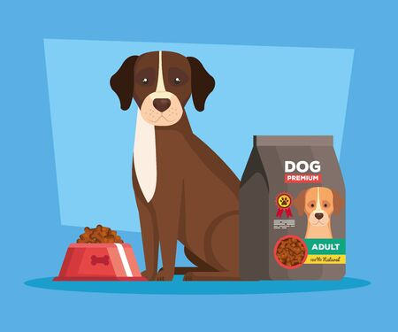 cute dog with bag food animal vector illustration design
