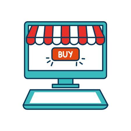 computer with parasol and buy button vector illustration design Ilustração