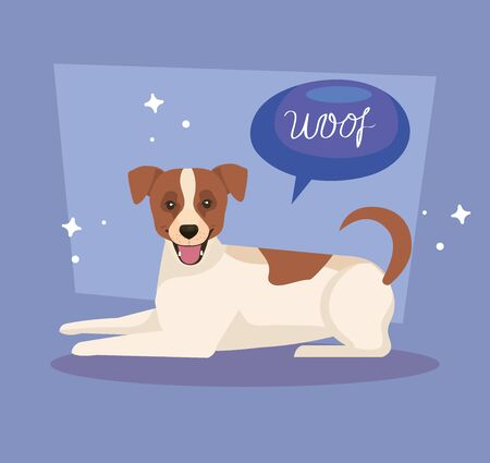 cute spotted dog with speech bubble vector illustration design