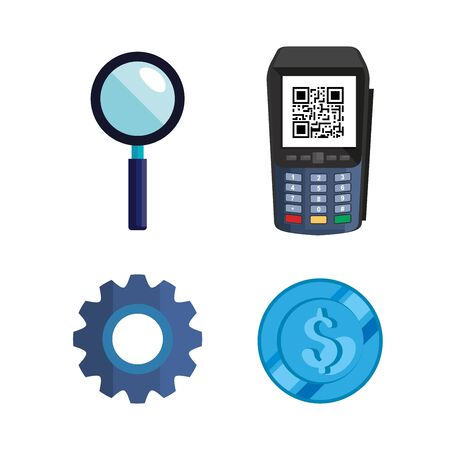 dataphone with scan qr code and set icons vector illustration design