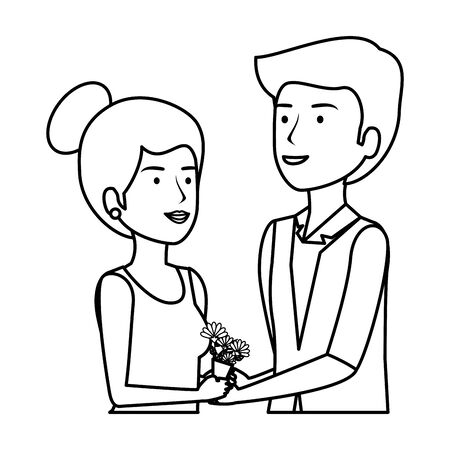recently married couple characters vector illustration design Vettoriali